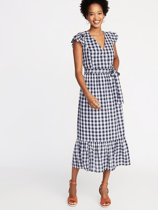 Waist-Defined Wrap-Front Gingham Midi Dress