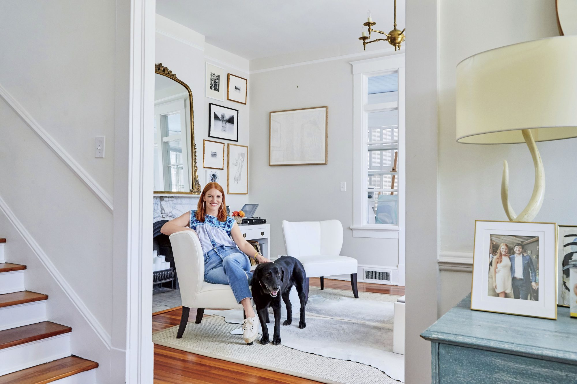 Liz Eichholz at Home with Dog