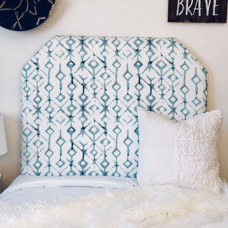 Blue-and-White Upholstered Headboard