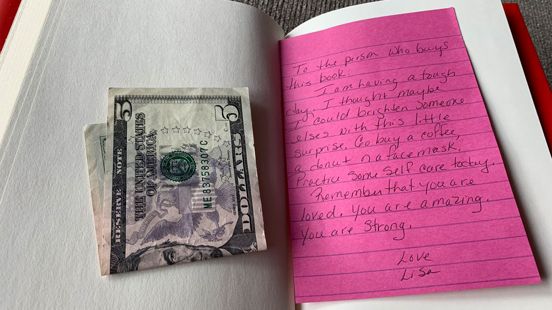 Note from Stranger in Book