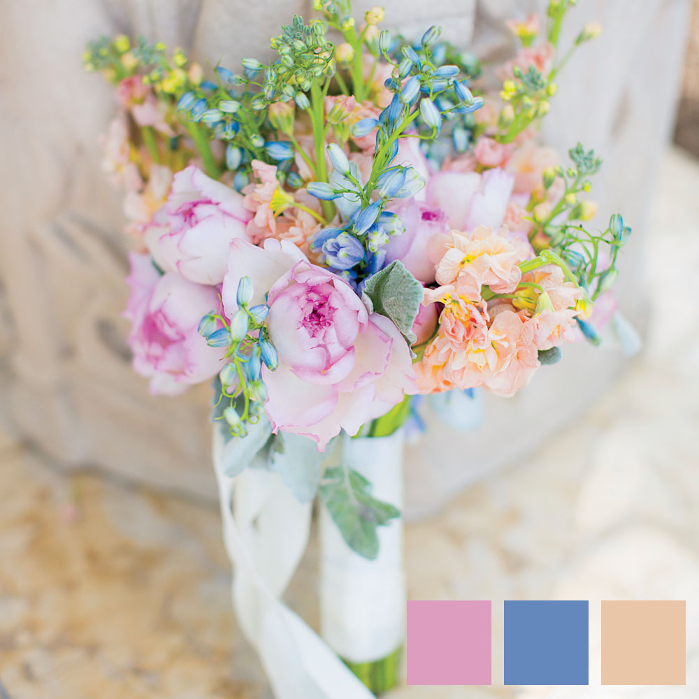 Pastel Pink, Peach, and Blue