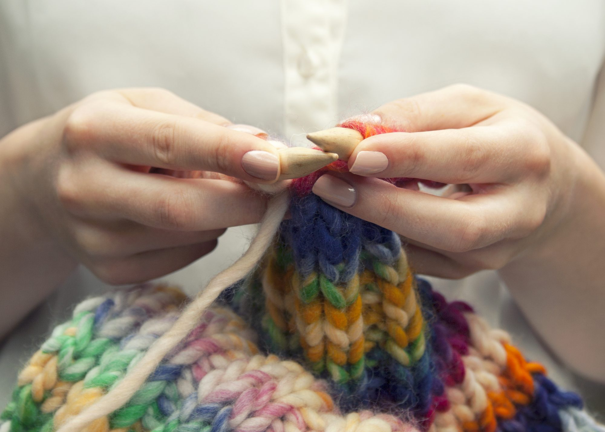 Knitting with Colorful Yarn