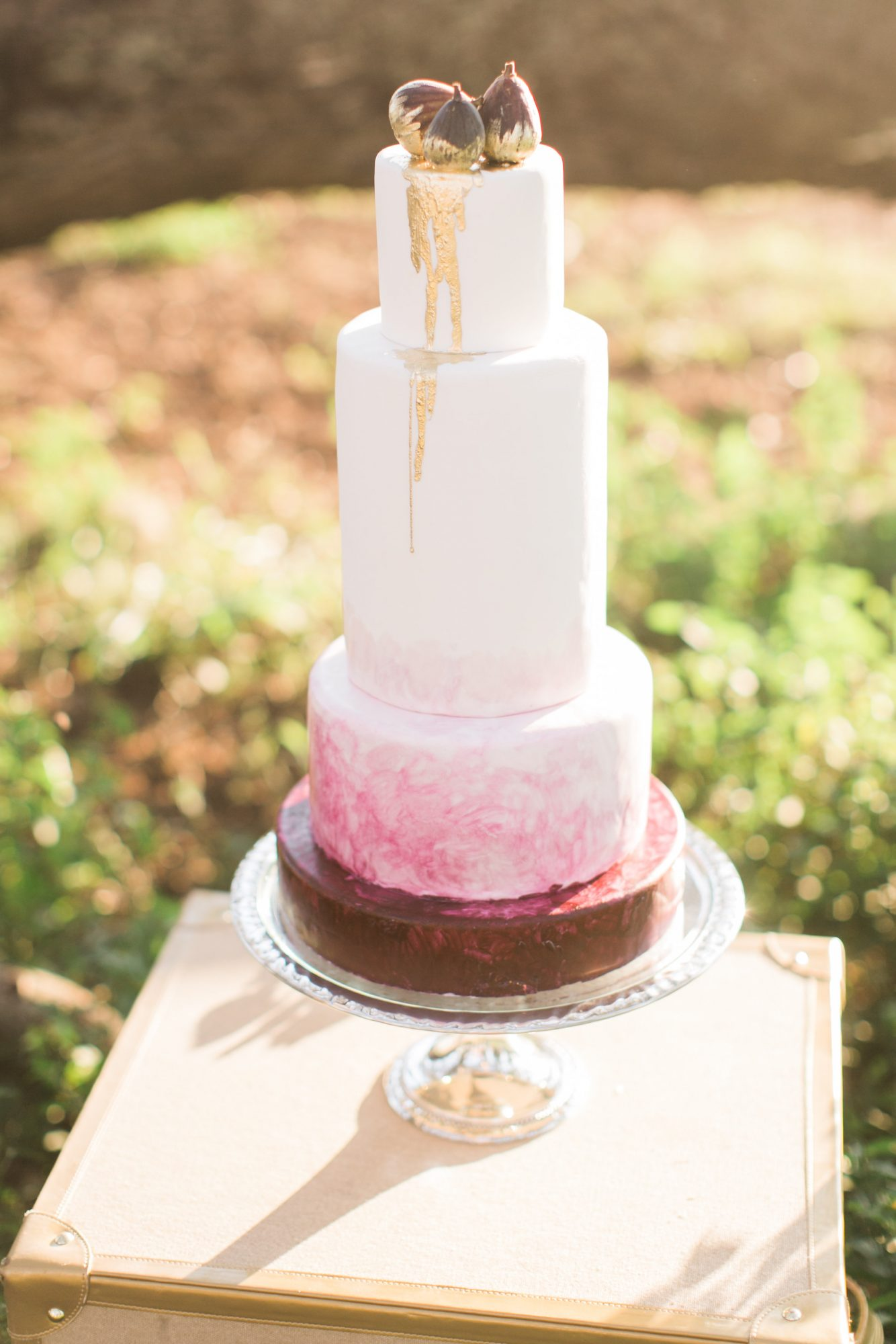 Watercolor Metallic Fall Wedding Cake