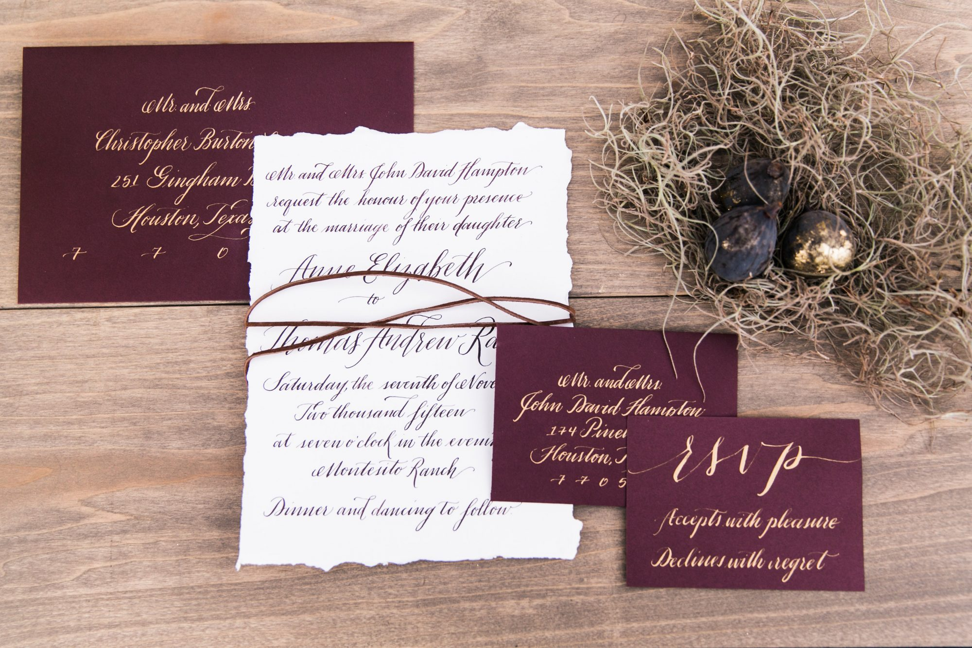 Invitations Steeped in Deep, Romantic Hues