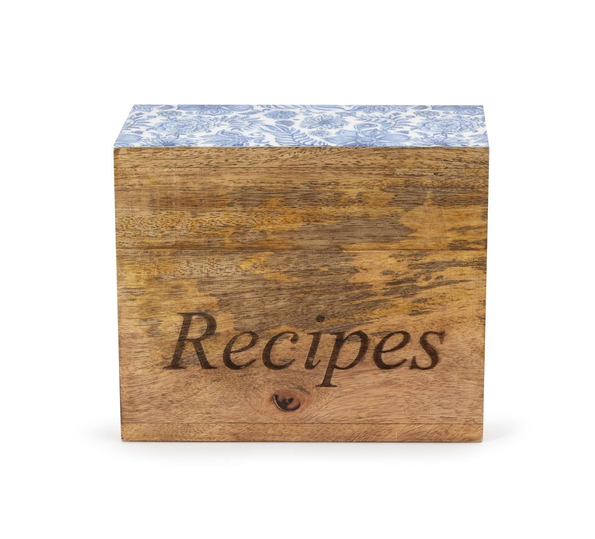 Wayfair Wetherell Blue and White Decal Wood Recipe Box, $34.99