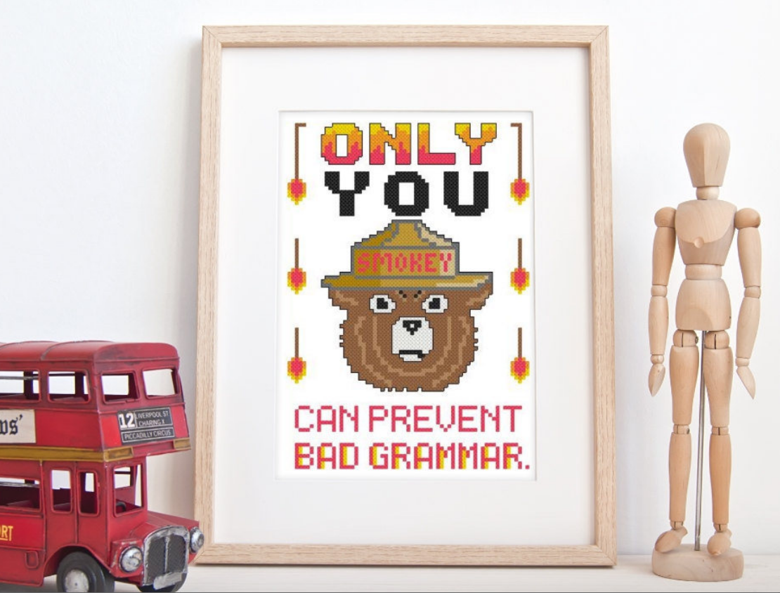 Smokey the Grammar Police Cross-Stitch Pattern