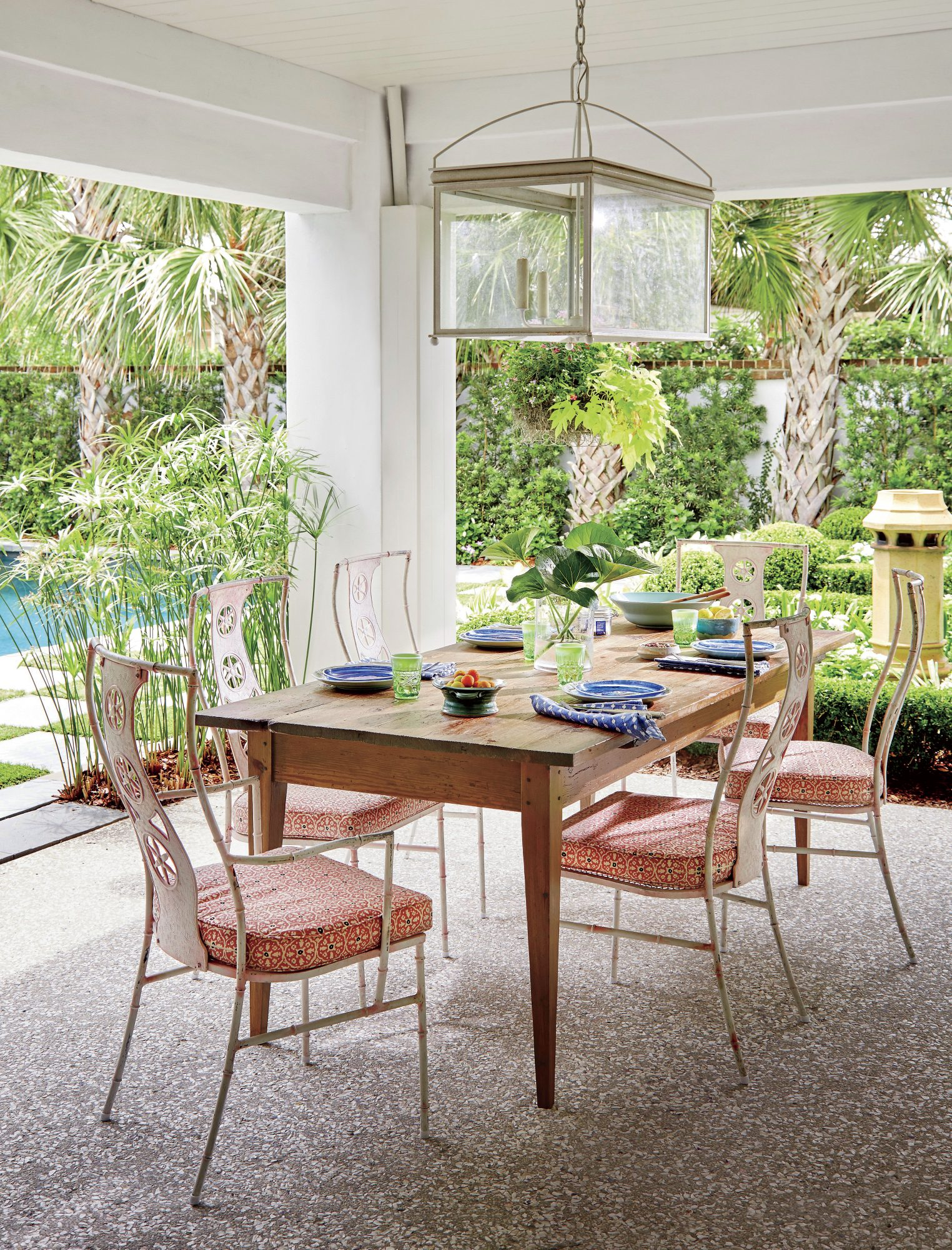 Jenny Keenan Designed Outdoor Dining Room for Her Parents House in Mount Pleasant, SC