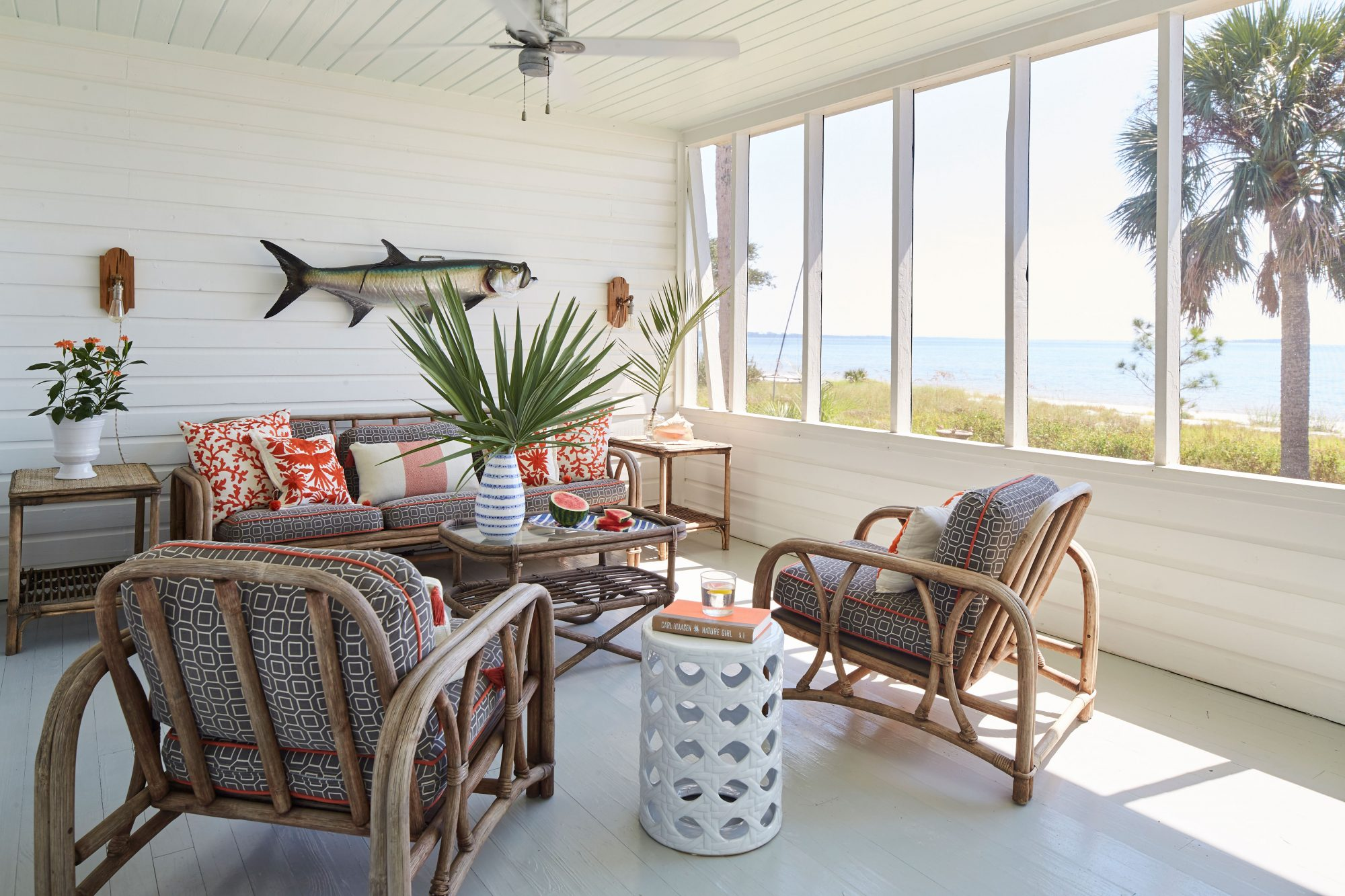 St. Teresa, FL Beach House Screened Porch Sitting Area