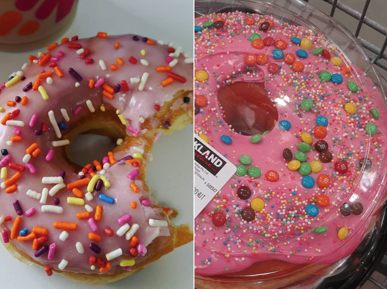 PSA: Costco Is Selling Giant Doughnuts Topped With Pink Icing and M&M's doughnut-split-screen