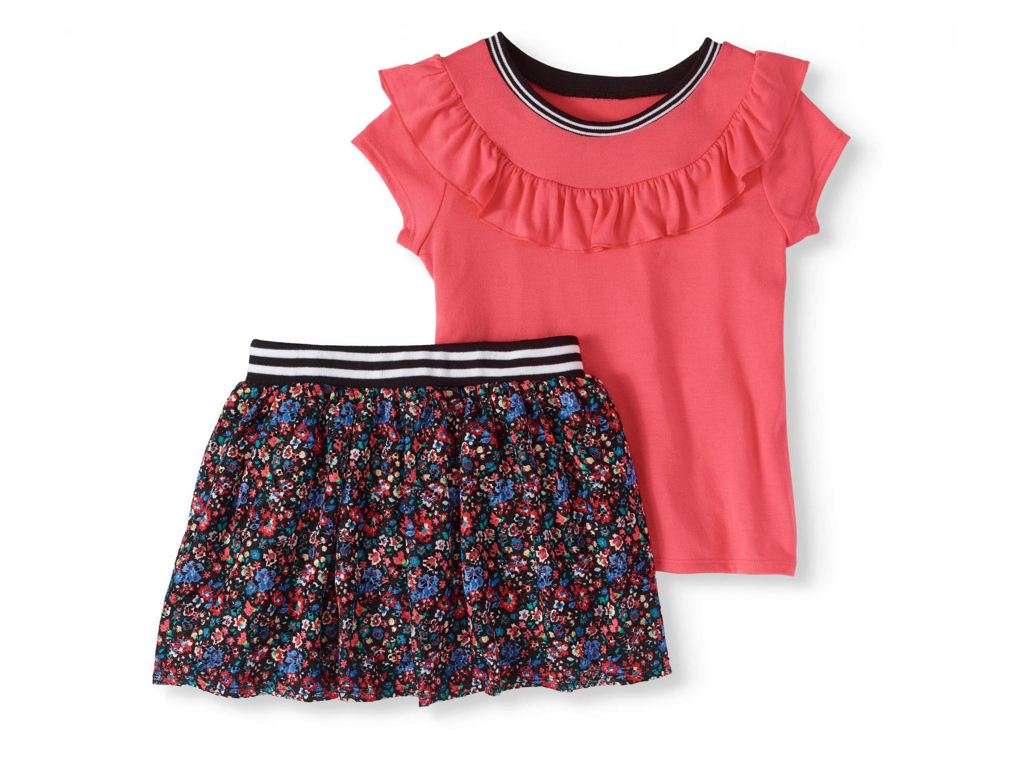 Ruffle Top and Floral Printed Lace Skooter 2-Piece Set