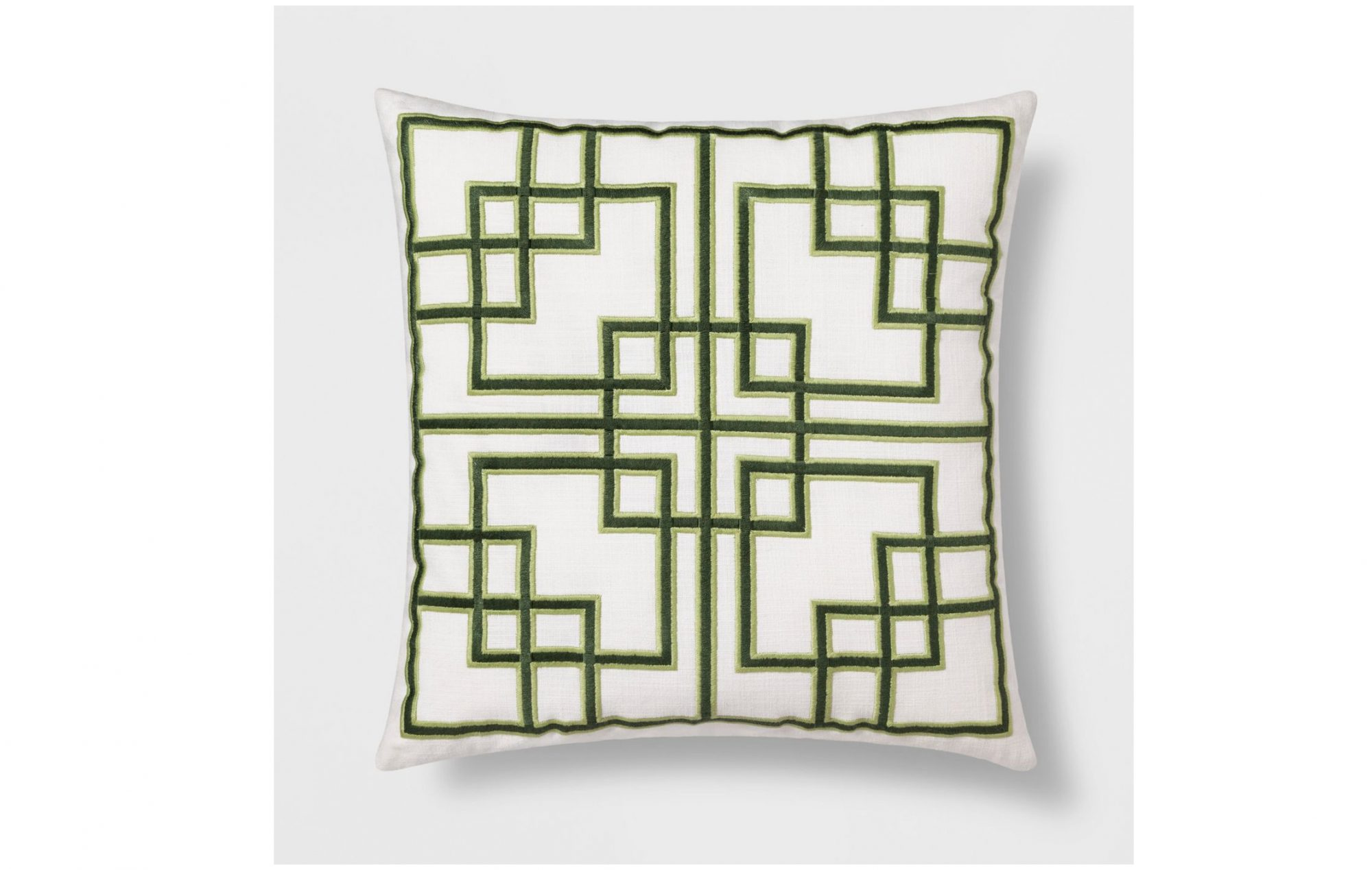 Embroidered Fretwork Square Throw Pillow Green – Threshold