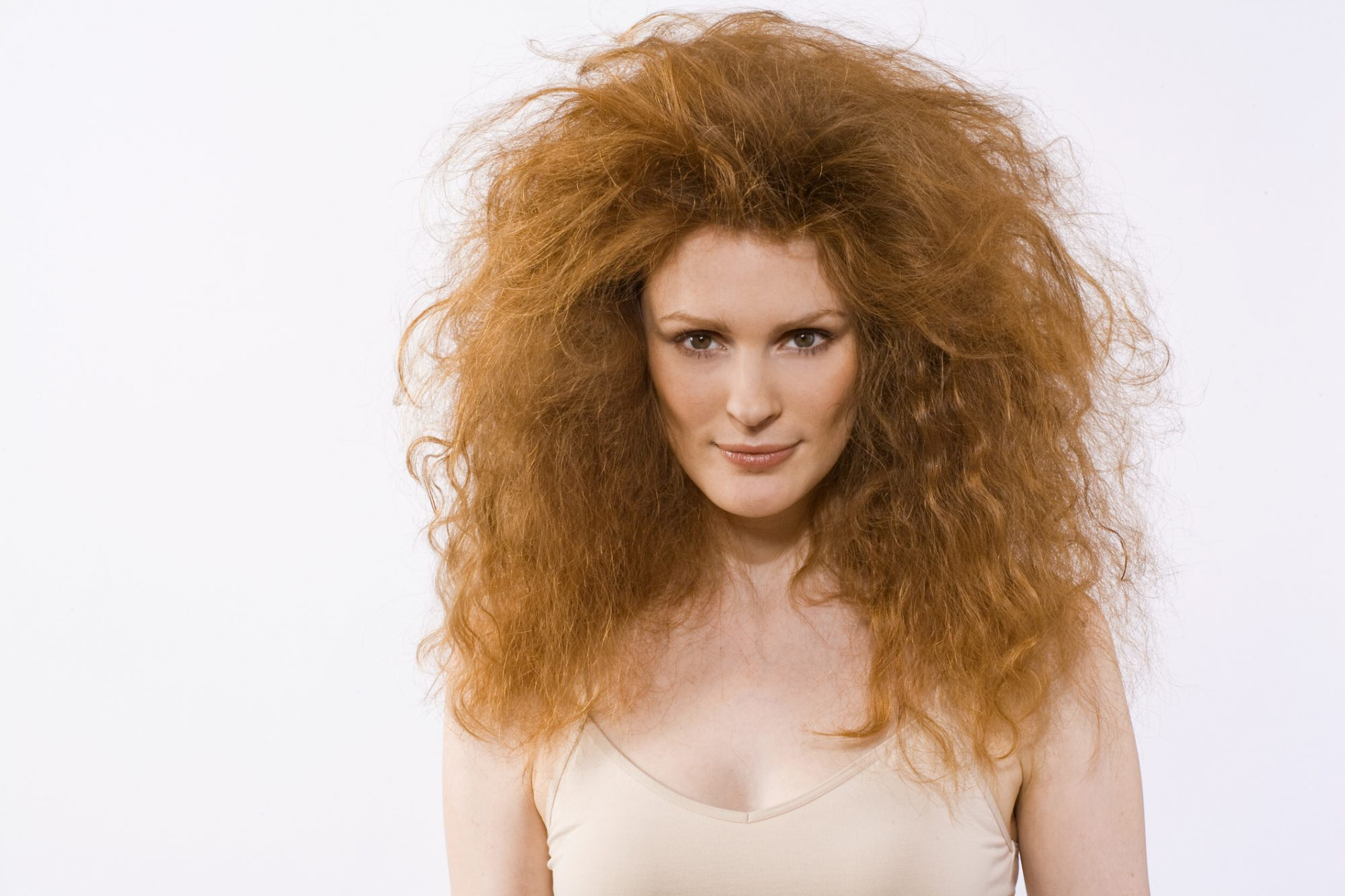 Woman with Very Big Frizzy Hair