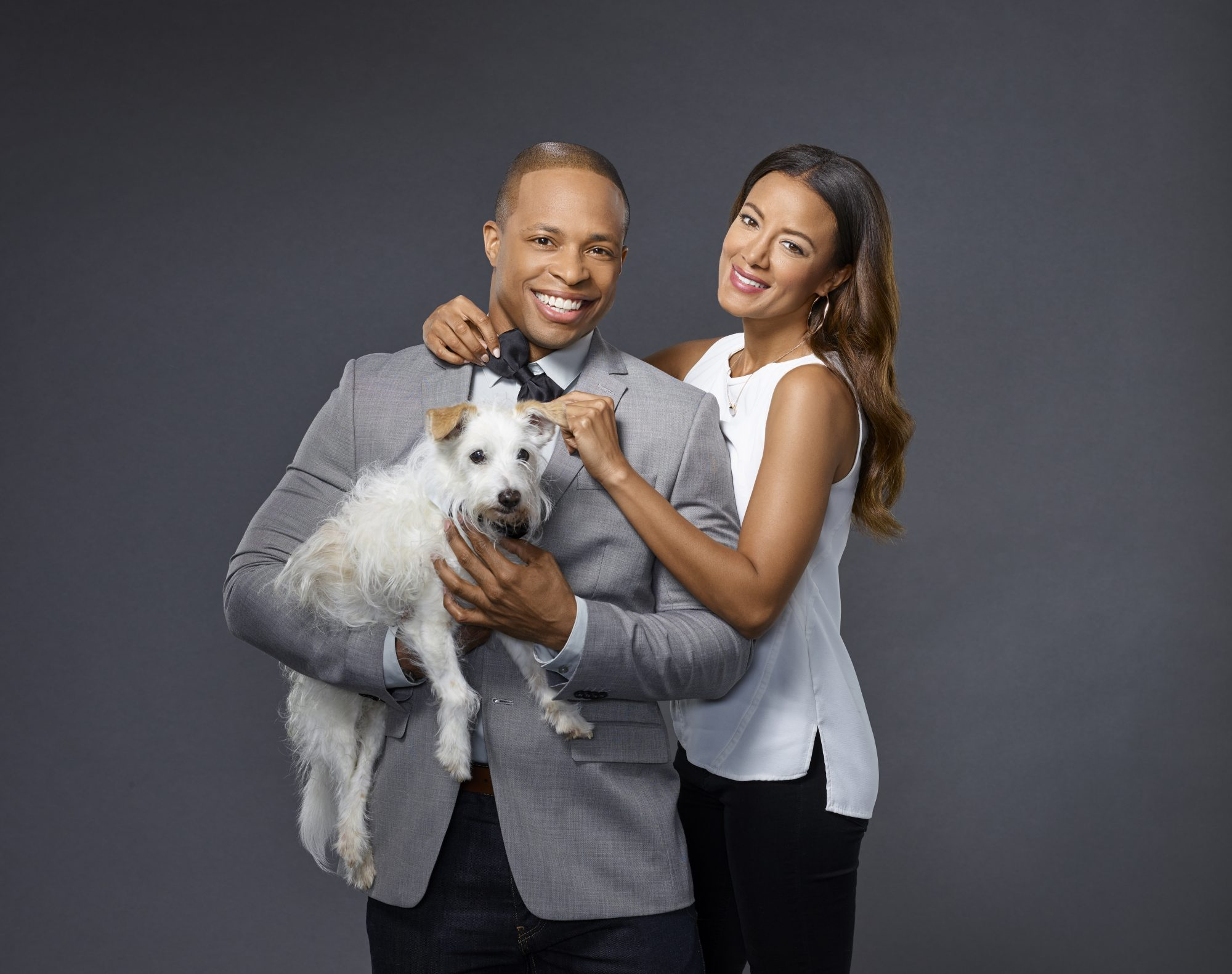 Heather Hemmens and Cornelius Smith Jr. with Dog