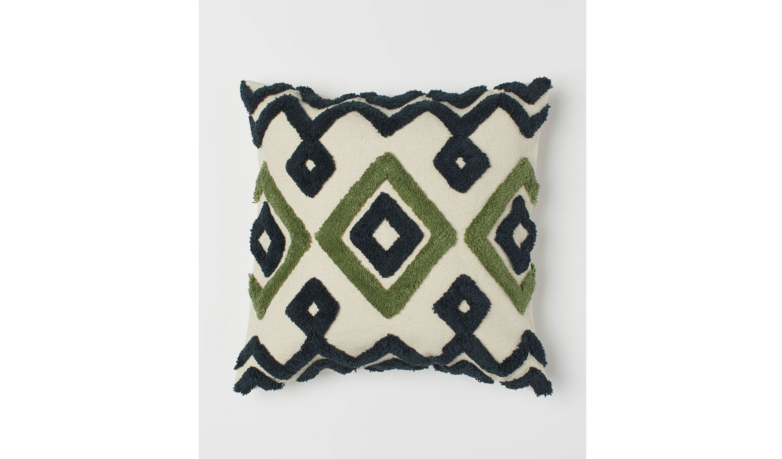 Embroidered Cushion Cover in Light Beige/Green