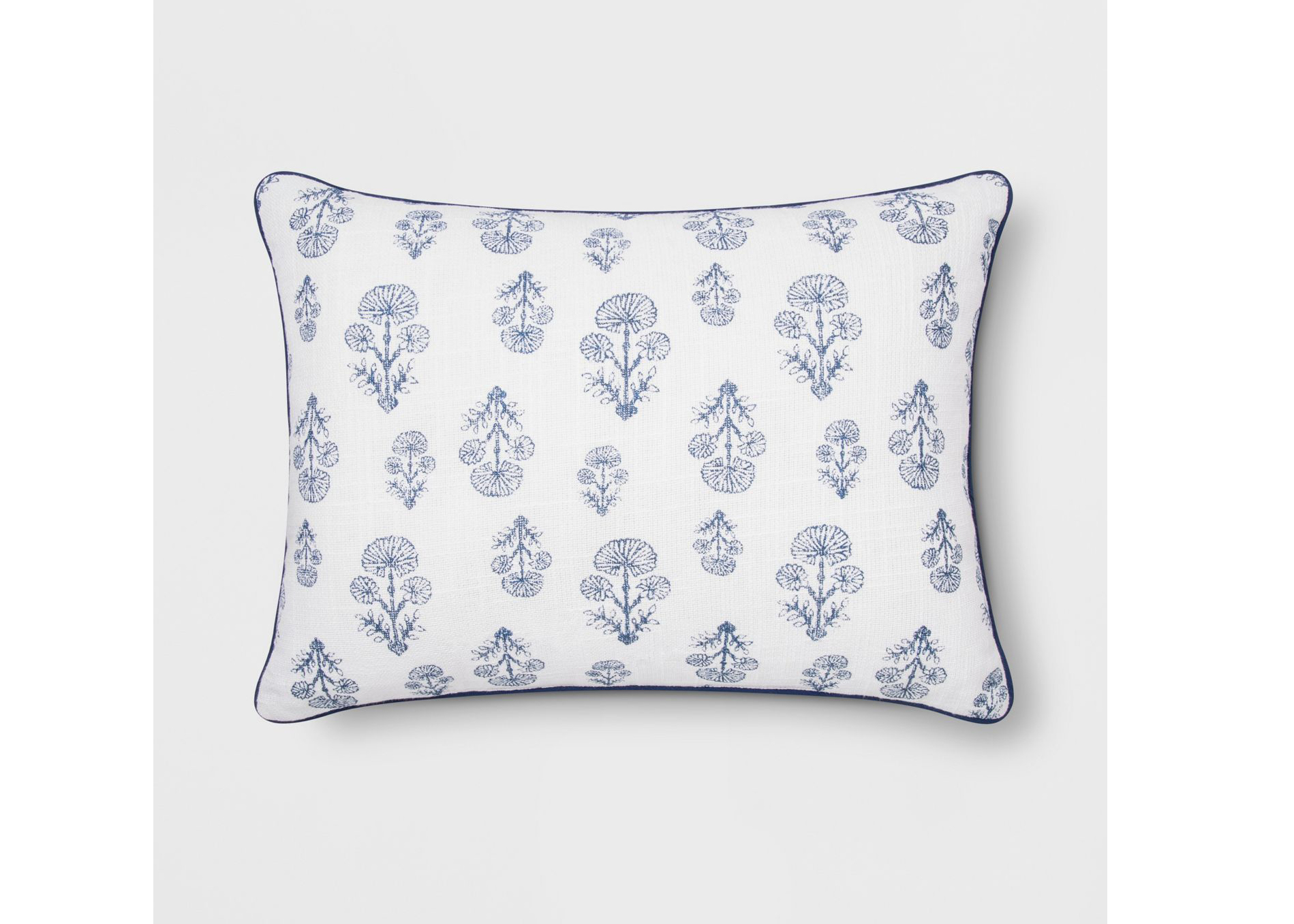 Block Print Lumbar Throw Pillow White/Blue – Threshold