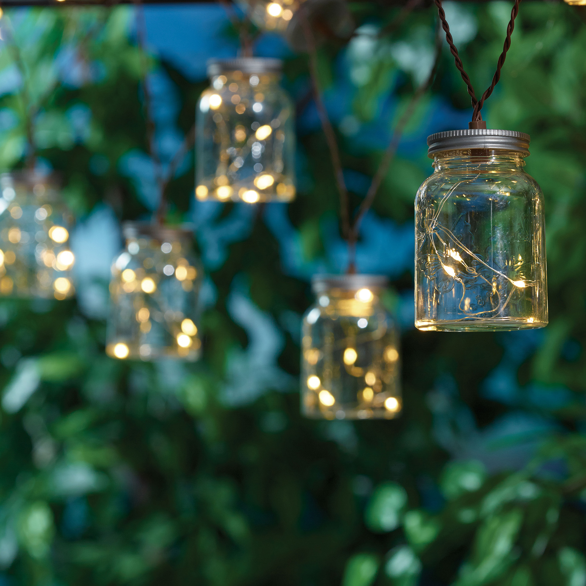 Mainstays 60  Solar Mason Jar Outdoor String Light Set