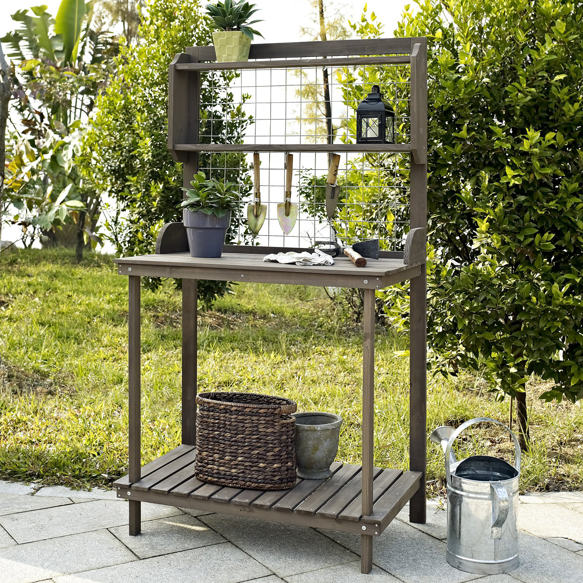Coral Coast Outdoor Potting Bench with Hanging Grate