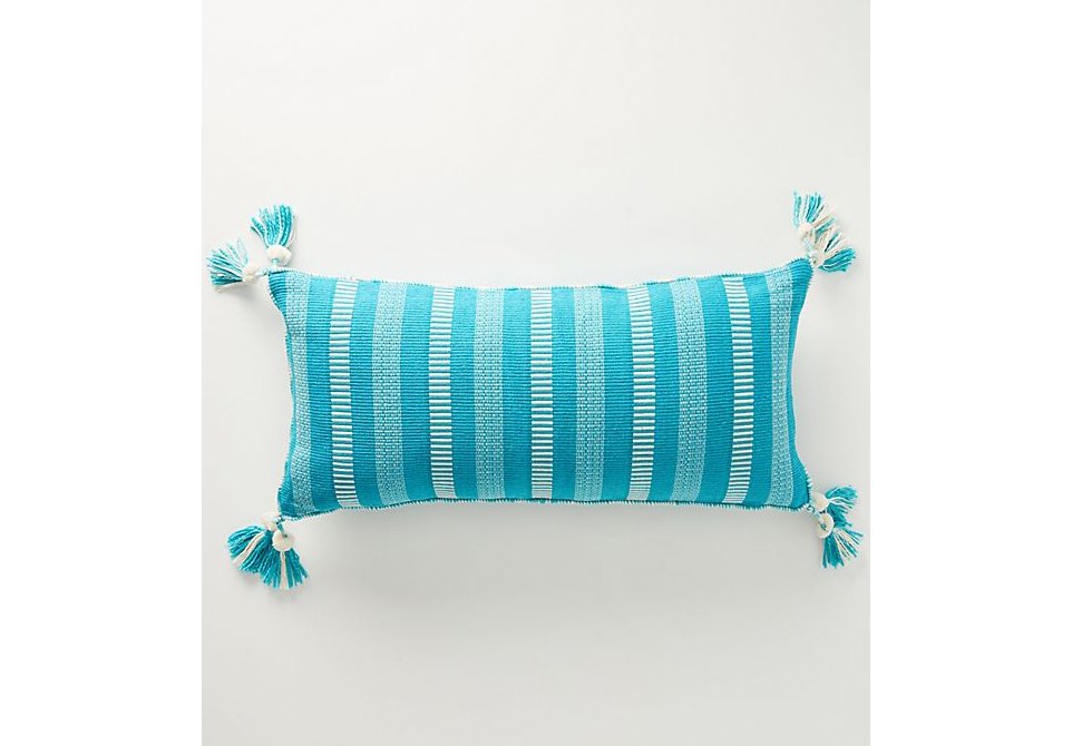 Tasseled Ramona Pillow in Tile Blue