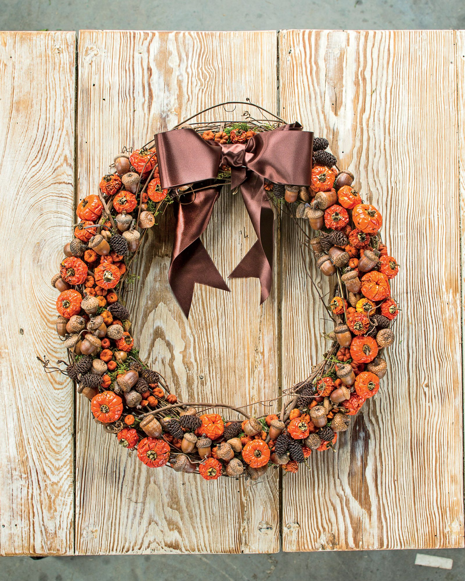 """Pumpkins"" and Acorns Fall Wreath"