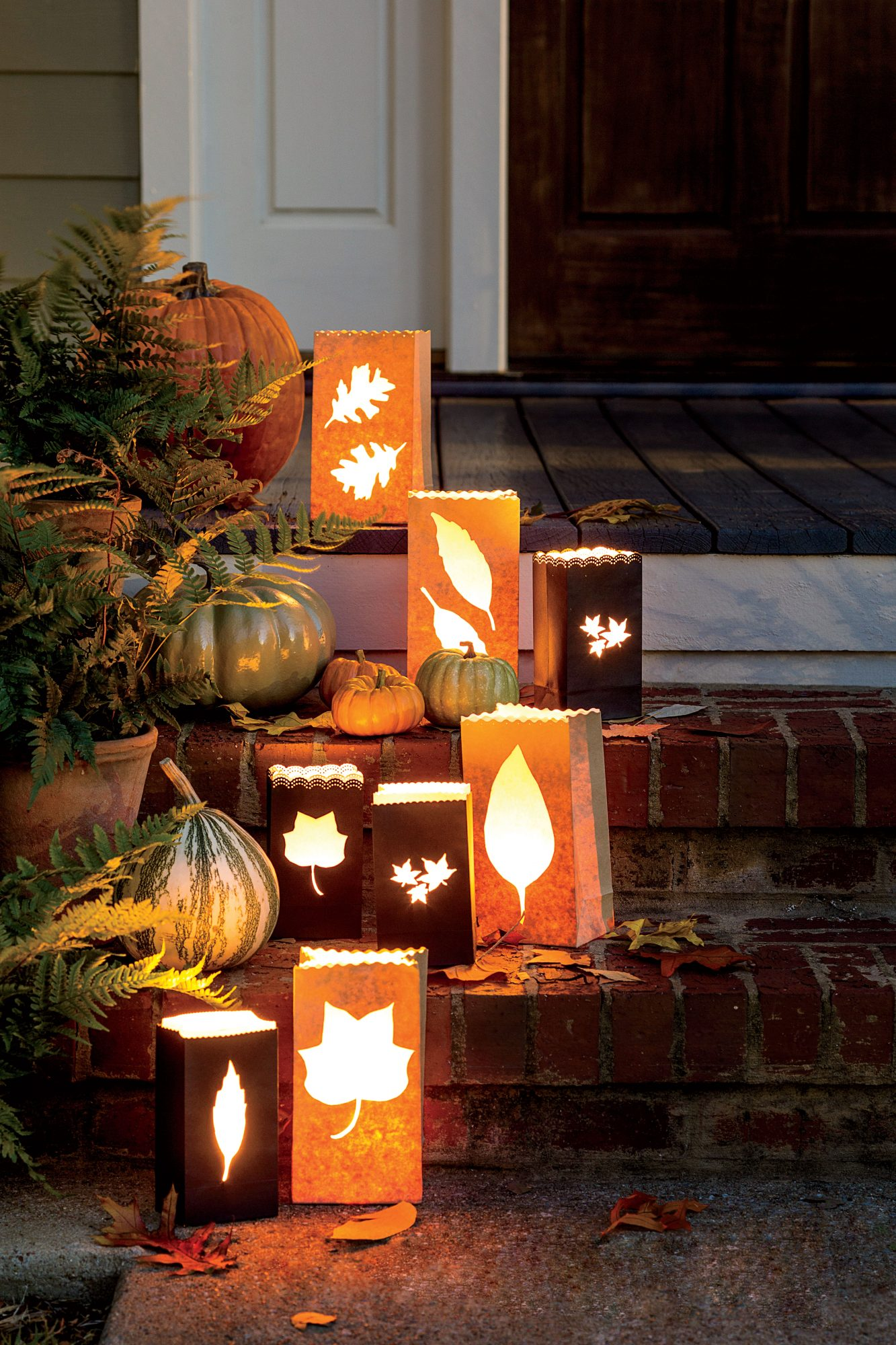 Fall Leaf Paper Bag Luminaries