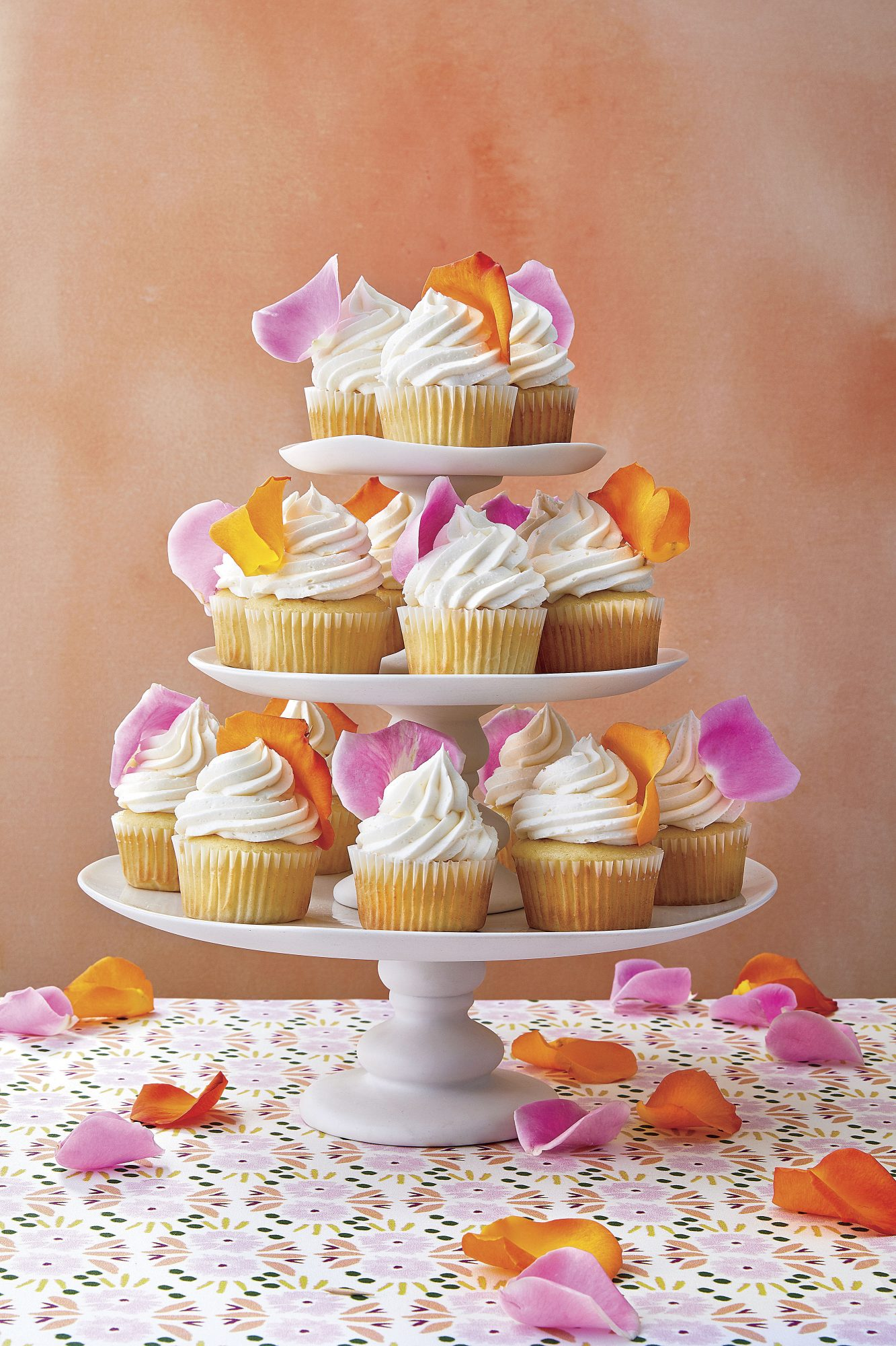 White Cupcakes with Rose Petals Mary Claire Britton