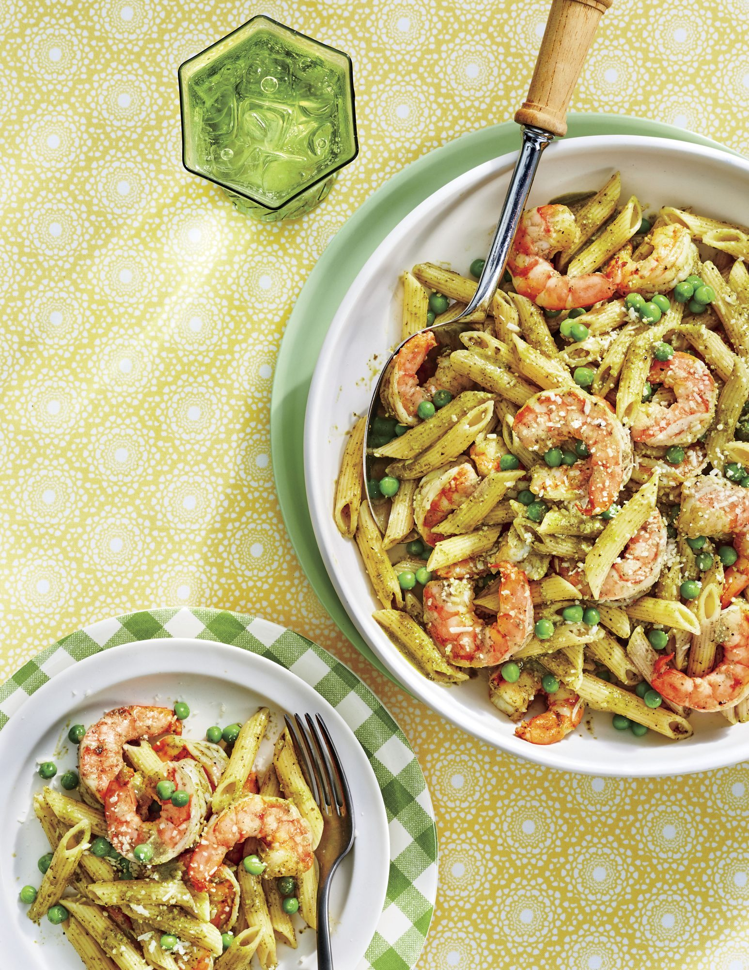 Creamy Pesto-and-Shrimp Penne with Peas