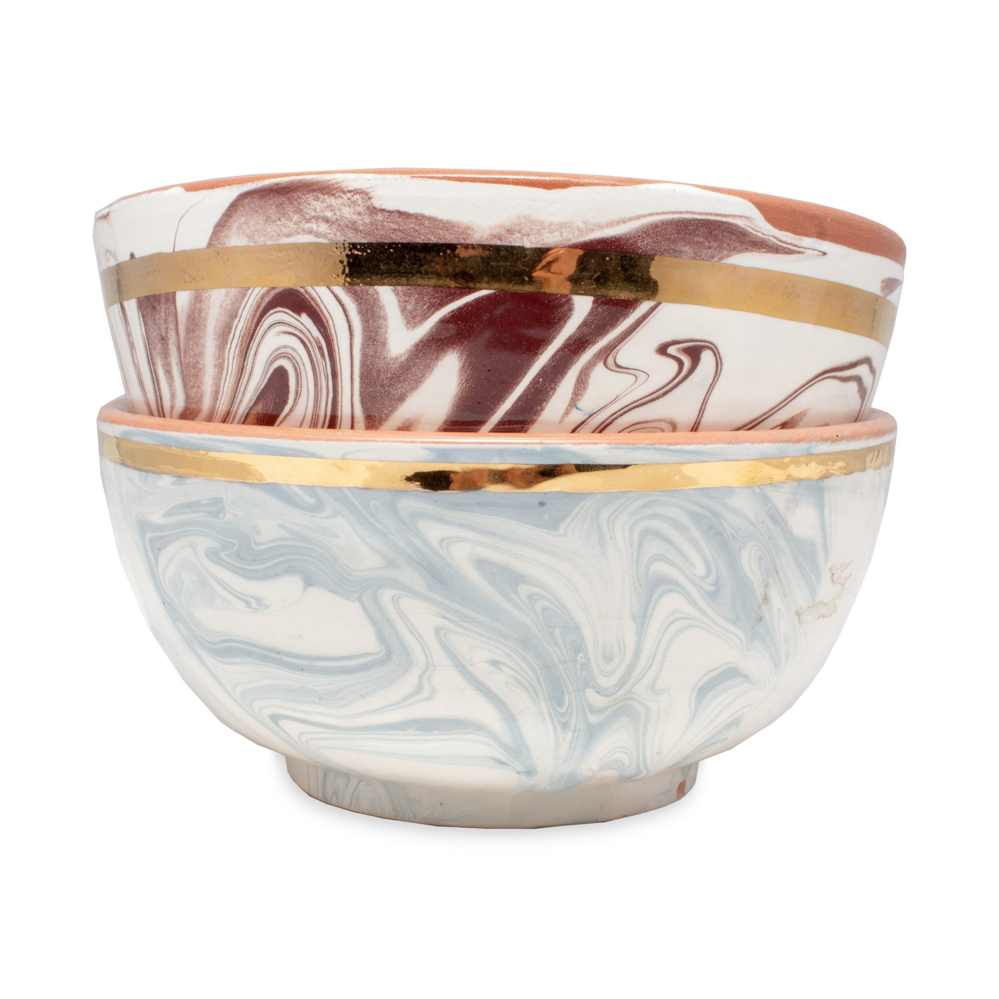 Laurier Blanc Handmade Marble Glazed Moroccan Bowls, Large, $69