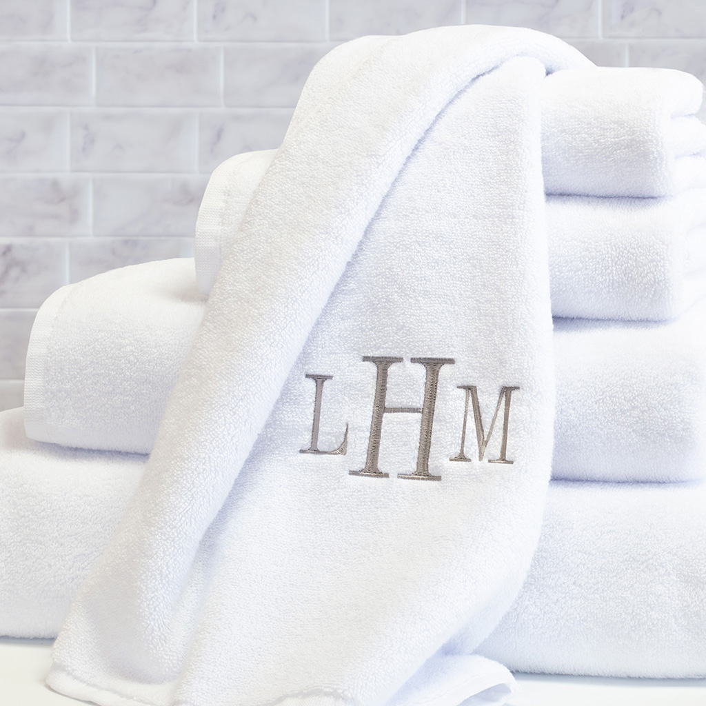 Crane & Canopy Monogrammed Plush White Towel Essential Bundle, $90