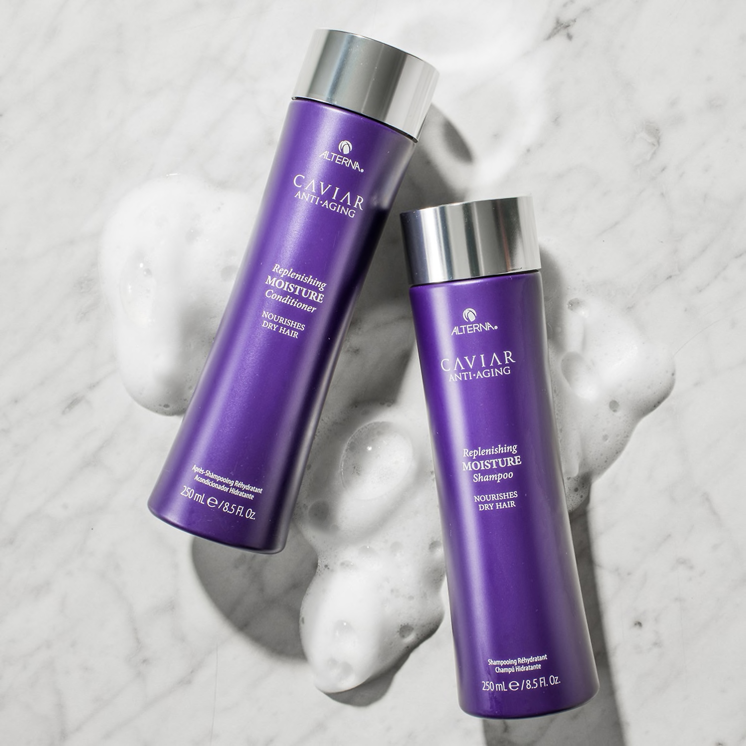 Hydrating Shampoo & Conditioner: Alterna Haircare CAVIAR Anti-Aging® Replenishing Moisture Shampoo & Conditioner
