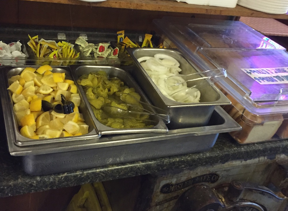 Free Pickles and Onions at Black's Barbecue
