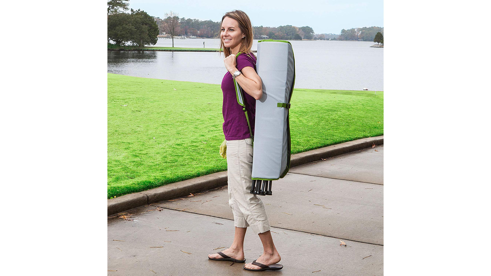 Carrying SwimWays Kelsyus Canopy Chair with Bug Guard