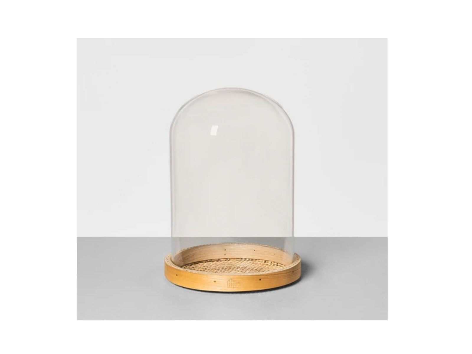 Cloche with Cane Woven Base