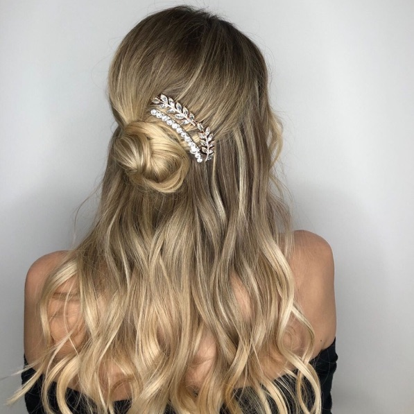 Half-Up Bun with a Bit of Sparkle