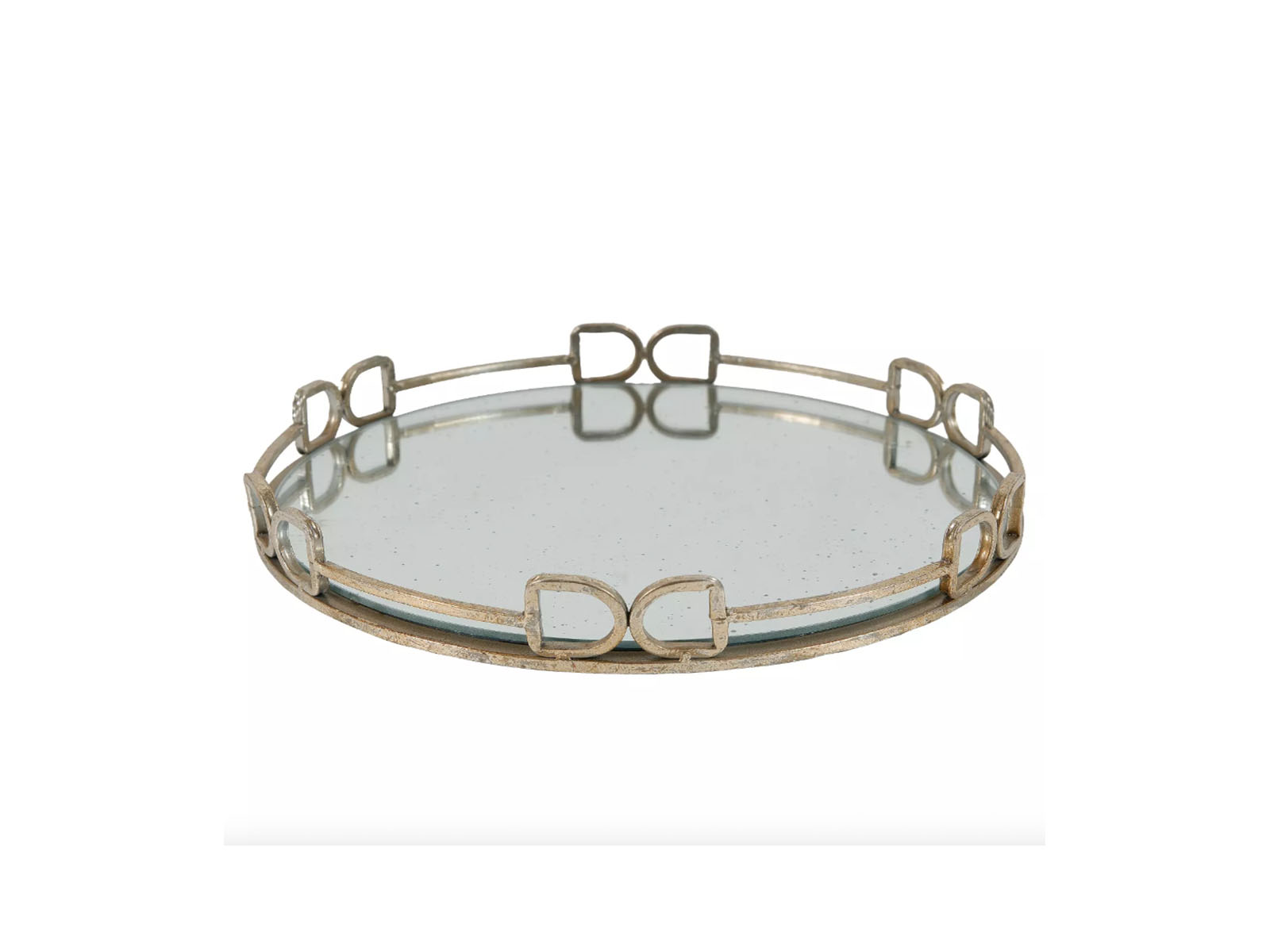 Round Decorative Tray with Mirrored Finish