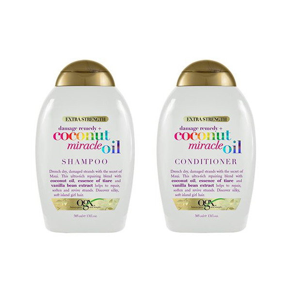 Drugstore Shampoo & Conditioner: OGX Damage Remedy + Coconut Miracle Oil Shampoo & Conditioner