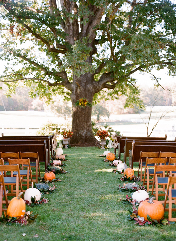 Pumpkin-Lined Wedding Aisle