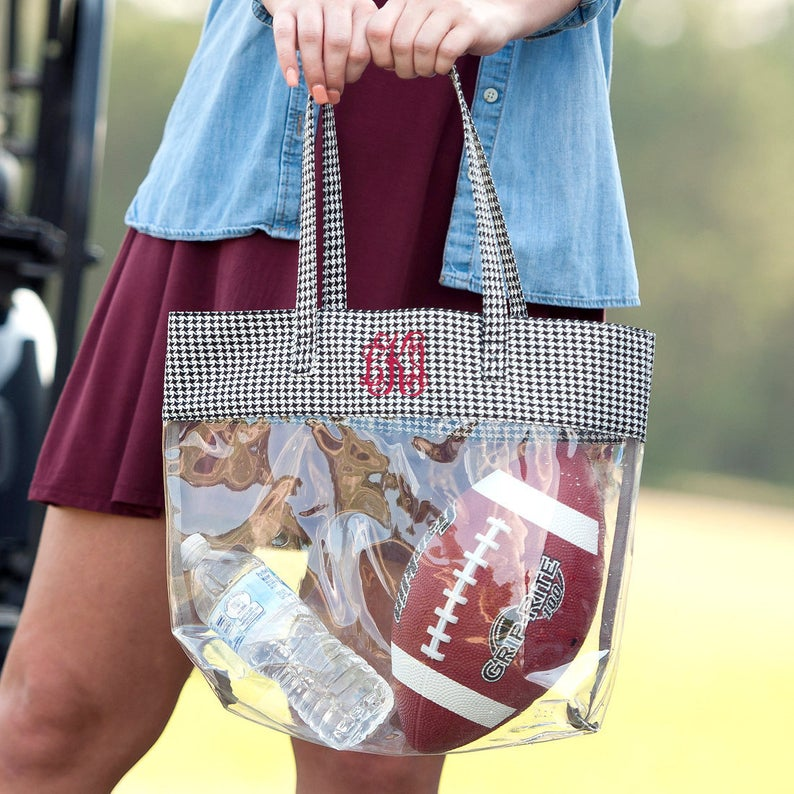 Monogrammed Clear Stadium Tote