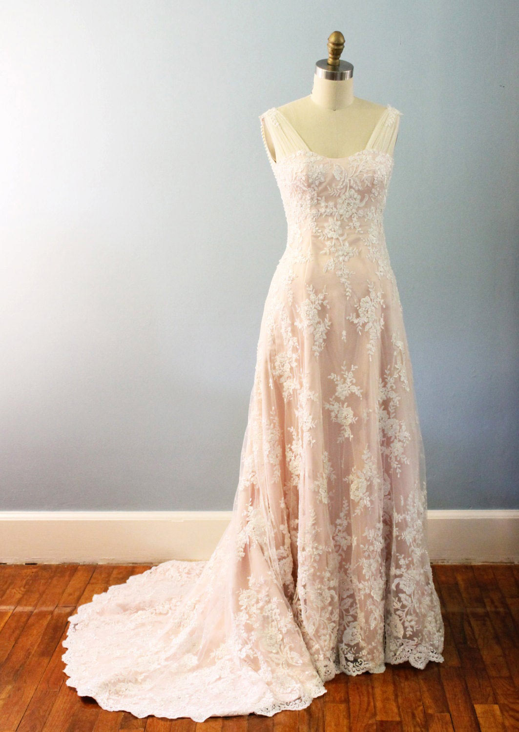 Vintage Inspired Blush Wedding Dress