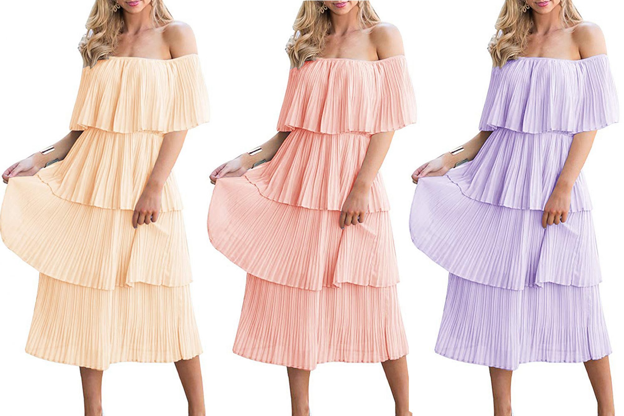 etcyy ruffle midi wedding guest dress amazon