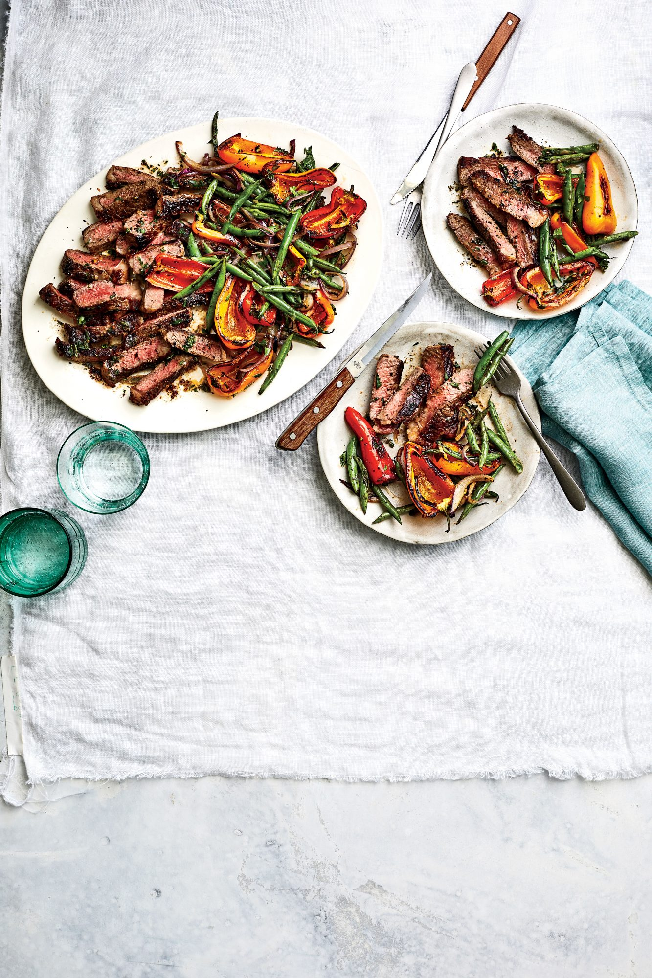 Grilled Steak with Blistered Beans and Peppers Recipe