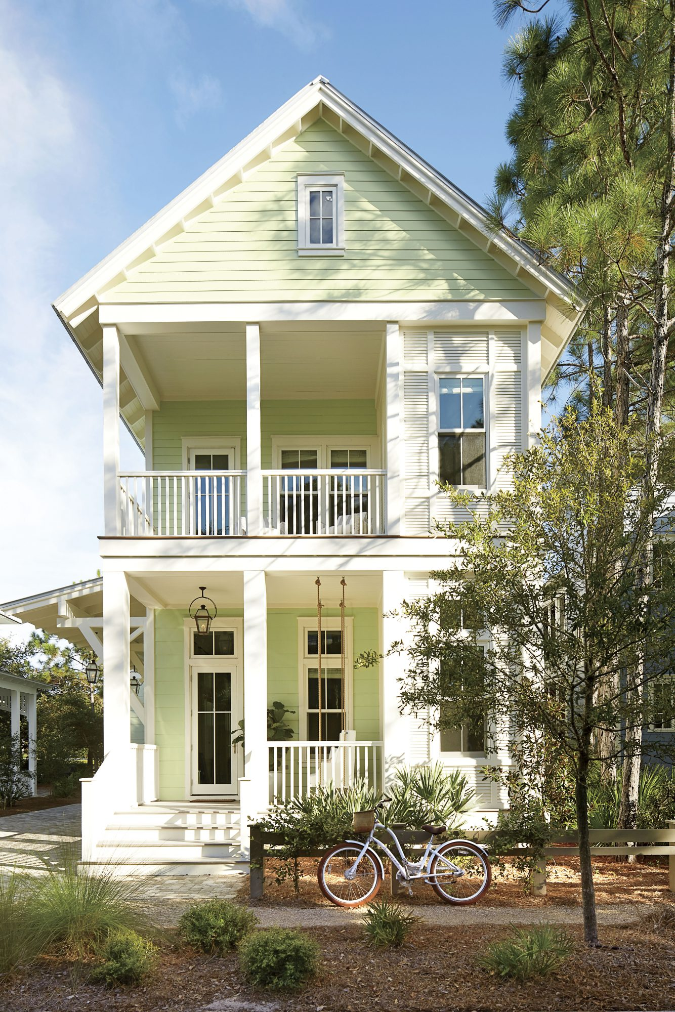 Maison Studio WaterColor, FL Mint Green Beach House Front Exterior with Bike