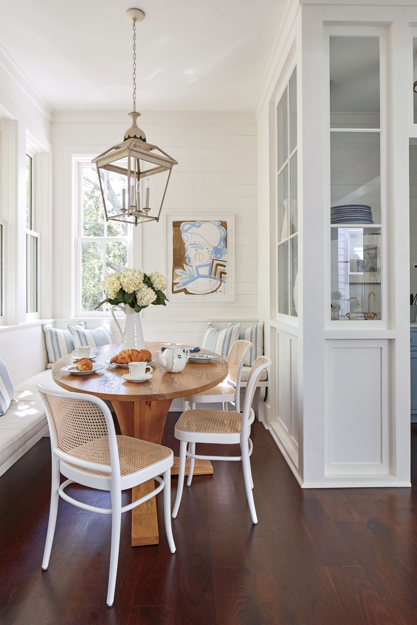 Julia Engel of Gal Meets Glam Charleston, SC Home White Breakfast Nook
