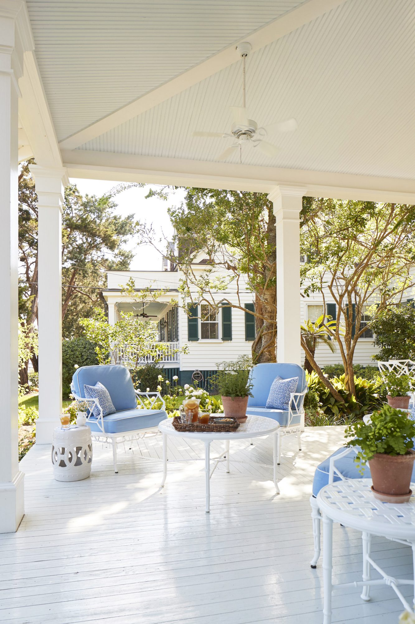 Julia Engel of Ga Meets Glam Charleston, SC Home Front Porch with Blue Seating