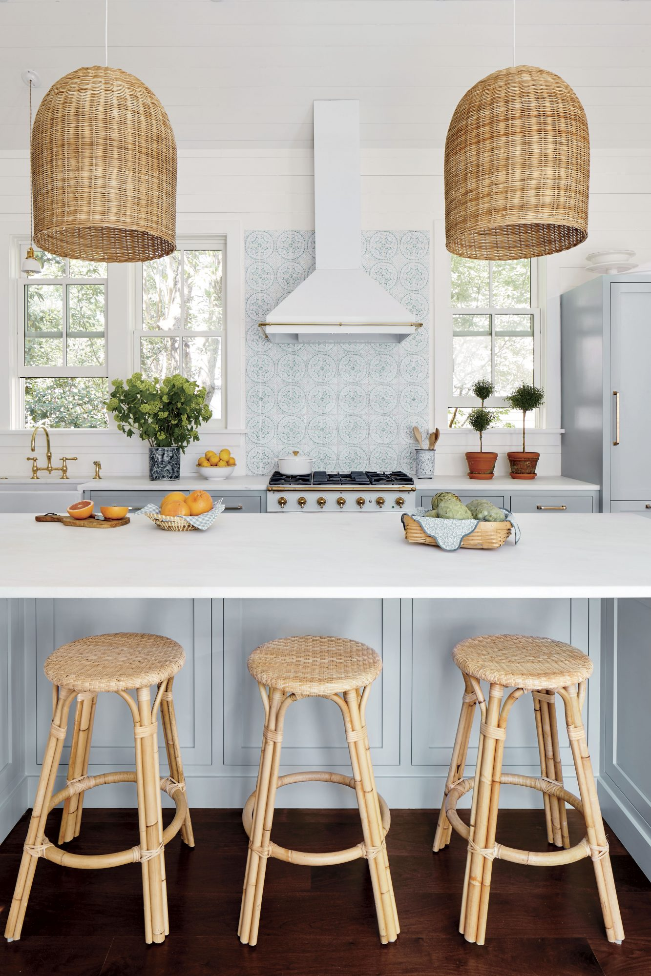 Julia Engel of Gal Meets Glam Charleston, SC Home Blue and White Kitchen Island