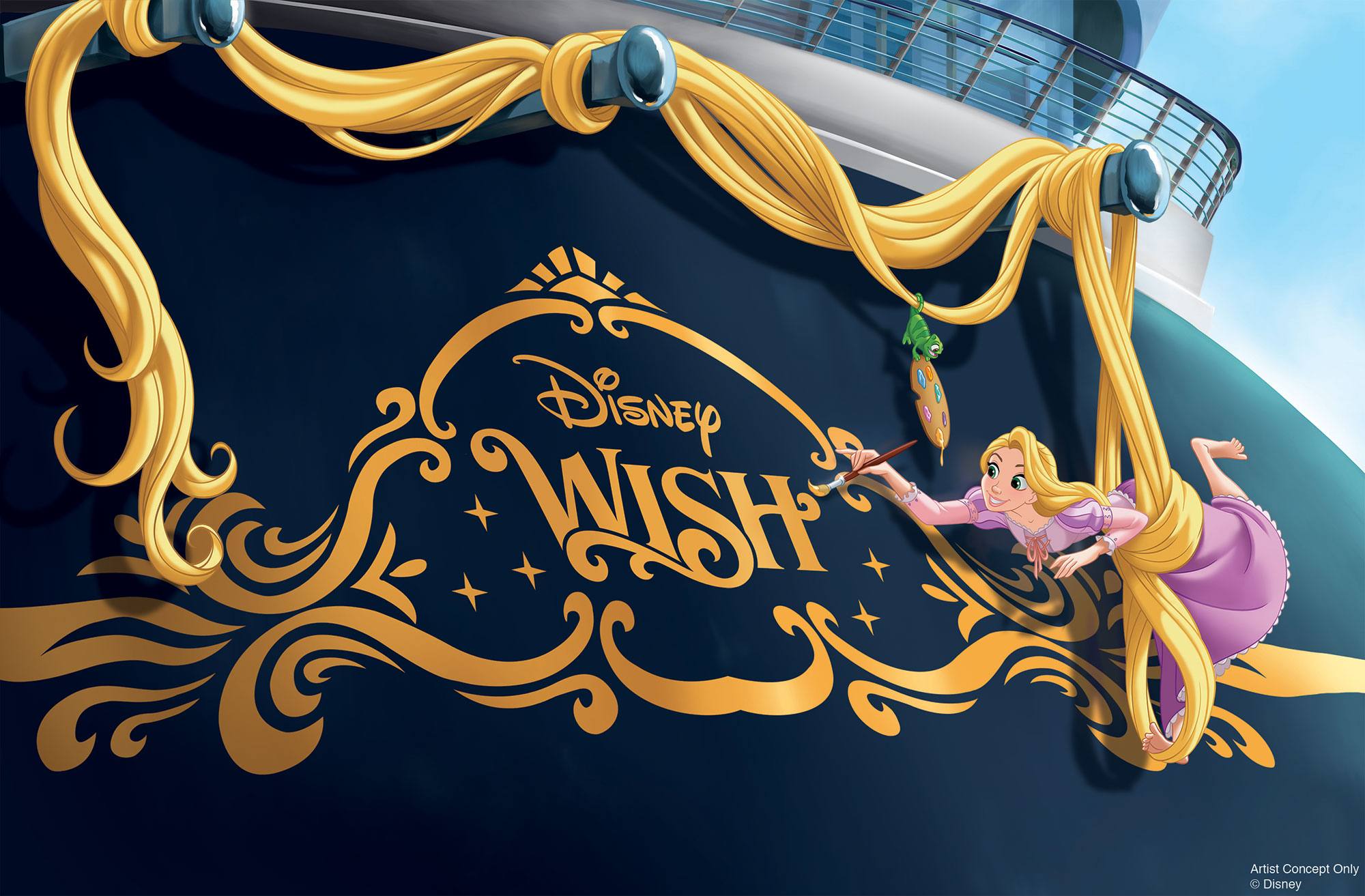 Disney Cruise Lines Reveals a New Ship (and Island Getaway) — See the Disney Wish! disney-wish-cruise-line-ship-rapunzel