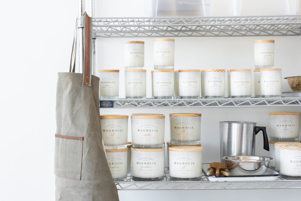 Magnolia Candles on Shelves with Apron