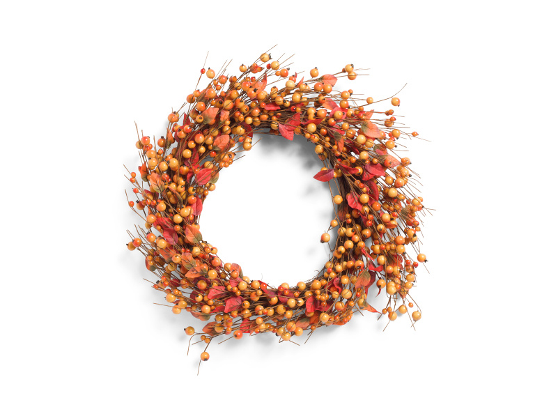Orange Berry and Leaves Wreath