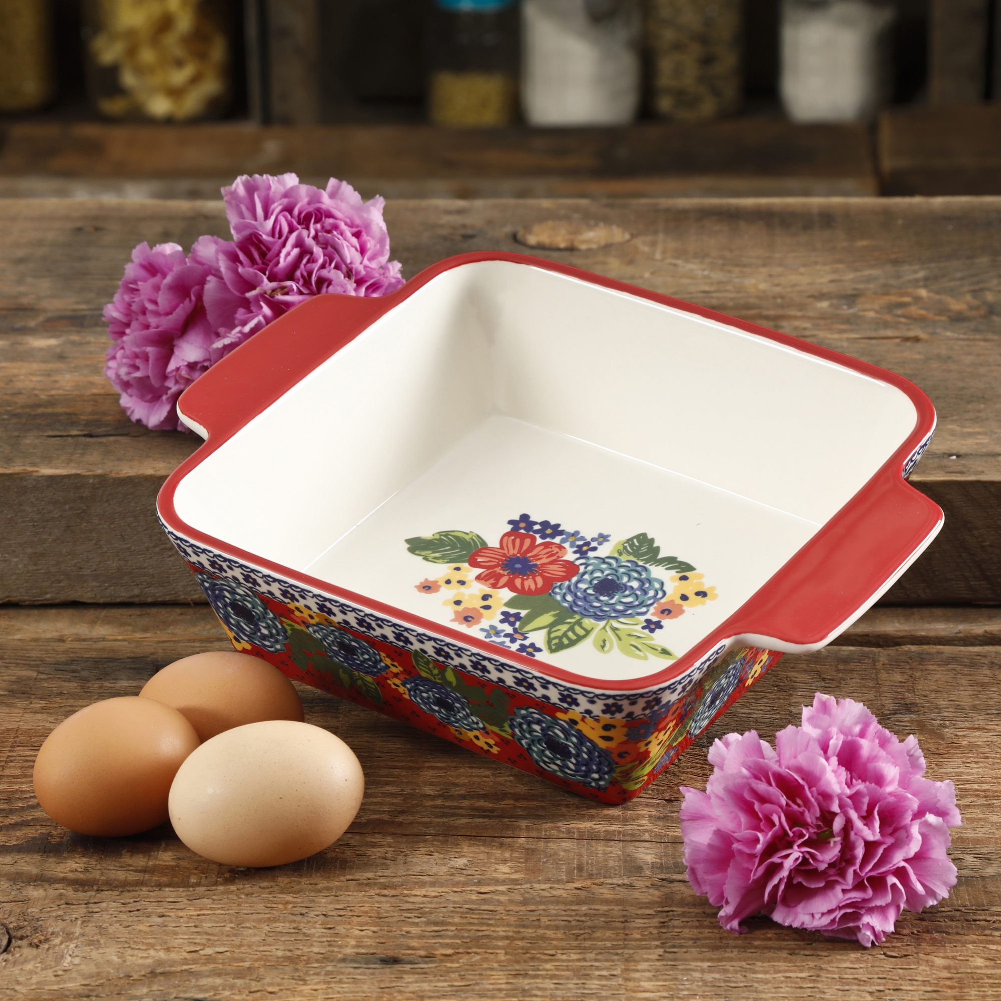 "The Pioneer Woman Dazzling Dahlias 8"" Square Baker"