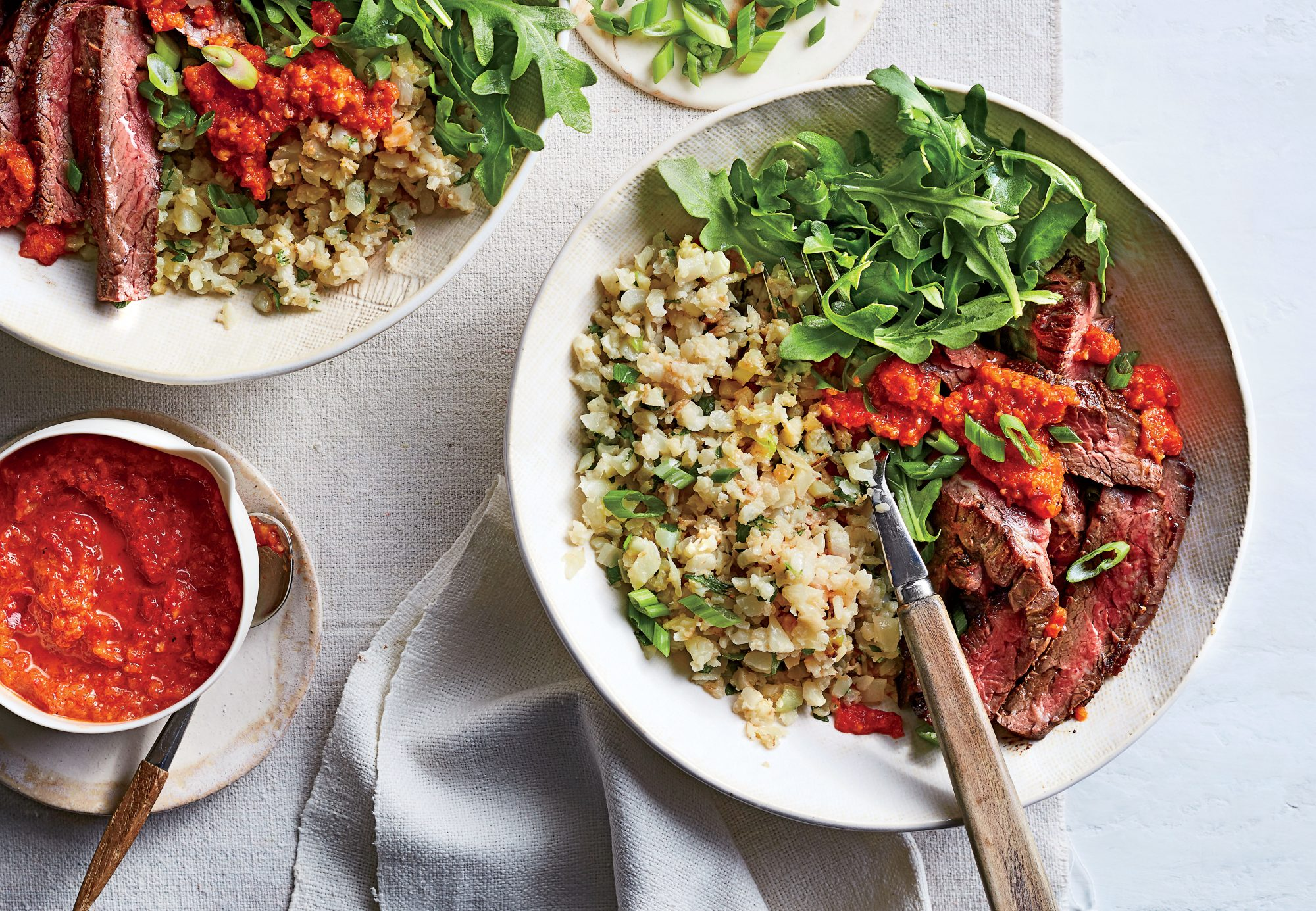 Skirt Steak and Cauliflower Rice with Red Pepper Sauce