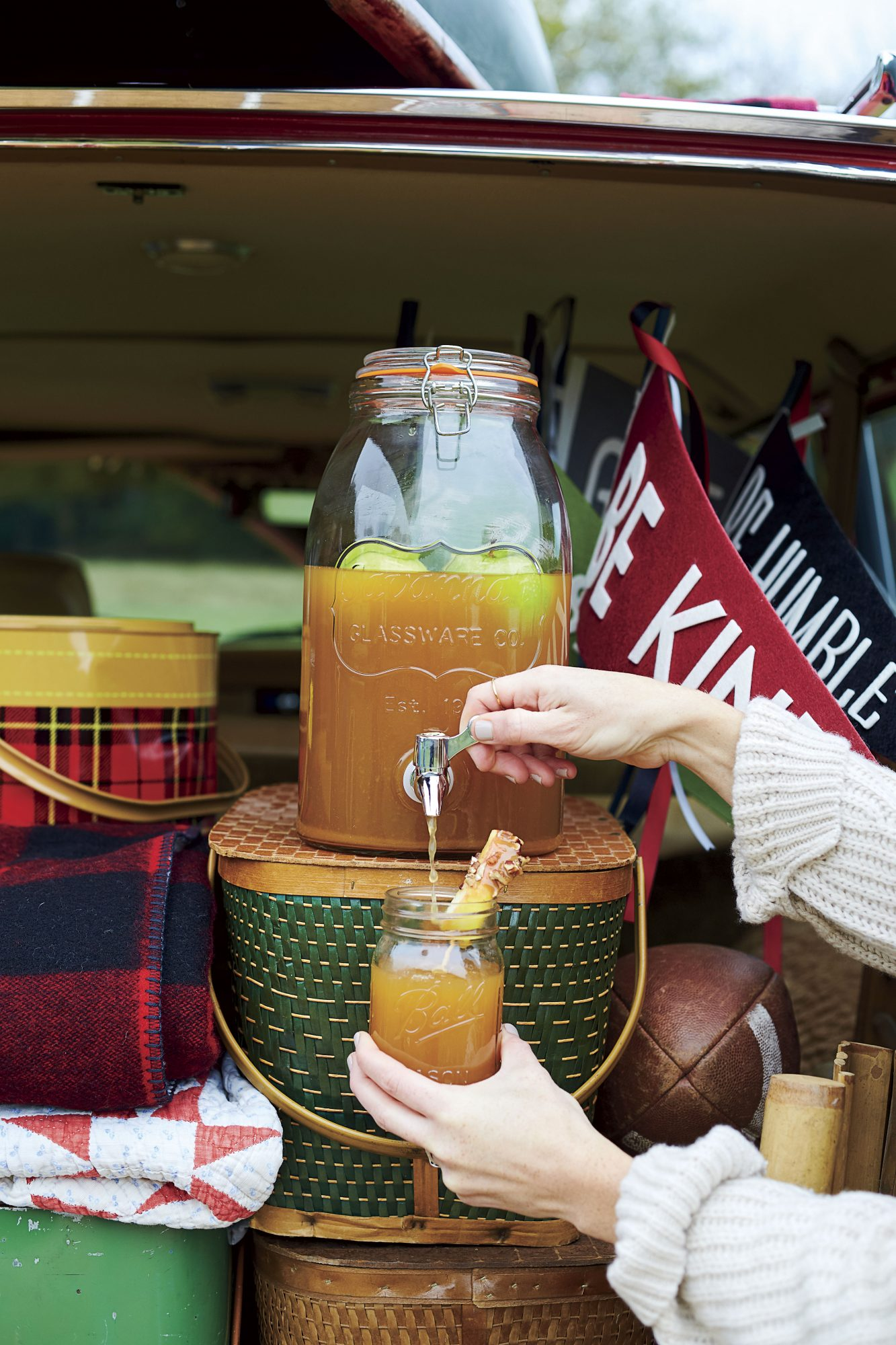 Katie Jacobs Fall Tailgate at Pumpkin Patch with Caramel Apple Sangria